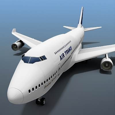 3D model of B-747 often called Jumbo, textured as a Air France plane