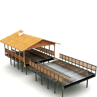 3D model of a Wooden bridge with roof