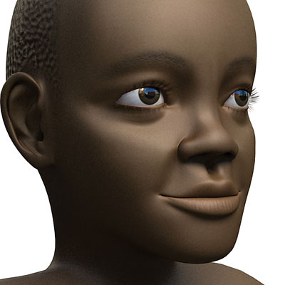 3D model of a Black child boy