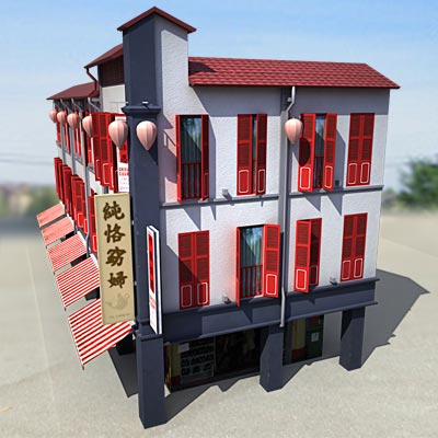 3D model of a China town house