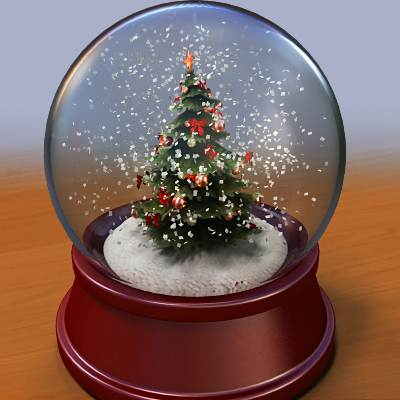 3D model: A snow globe with a decorated X-mas tree inside