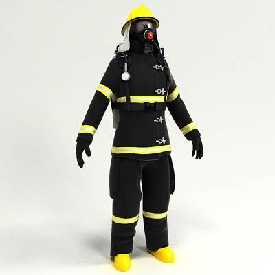 model: Fully equipped fireman 3D