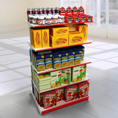 The 3D model of a double sided shelving with food