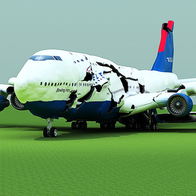 3D model of a Crashed plane B747