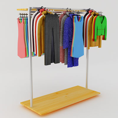 3D model of Clothes on rack mixed