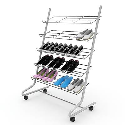 The 3D model of a Chrome shoe rack with shoes