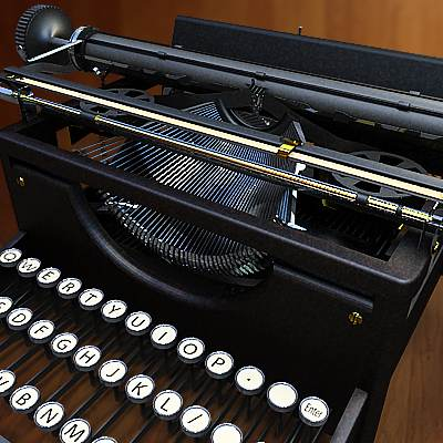 The 3D model of an Old Typewriter