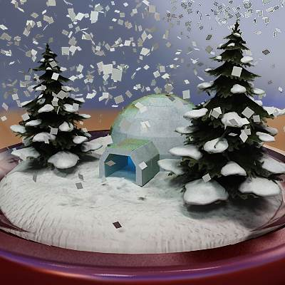model: A 3D snow globe with an igloo (snow house) inside