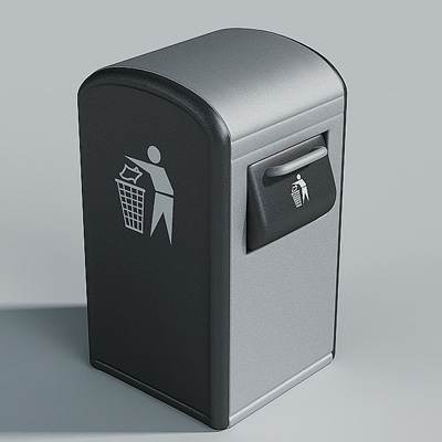 The 3D model of a trash can for modern city
