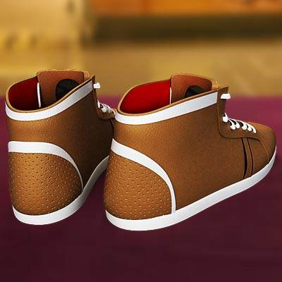 The 3D model of a Environmental friendly brown sneakers
