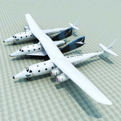 3D model of SpaceShip two and White Knight Two