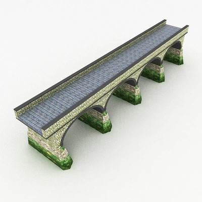 The 3D model of the classic stone bridge