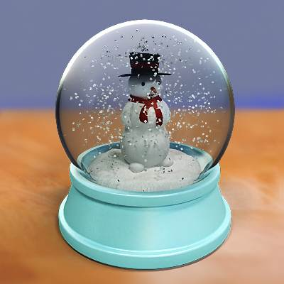 model: A 3D beautiful snow globe with a snowman inside