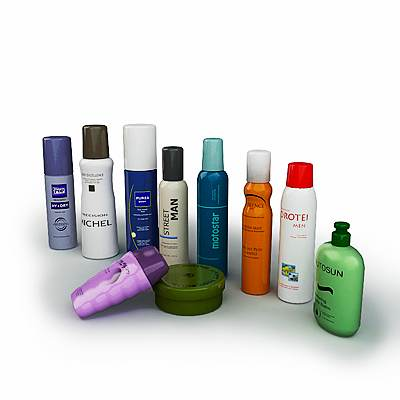 The 3D model of skin and hair care products set