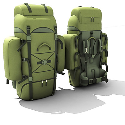 3D model of a military backpack